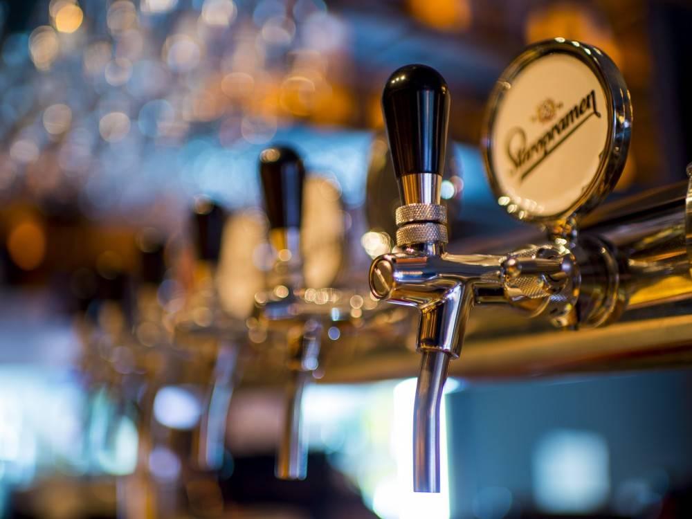 Tap beer at a pub a patio