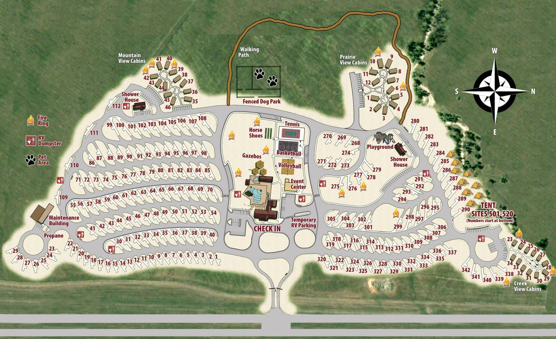 Elkhorn Ridge Map of Campground, Resort, RV sites and tent sites
