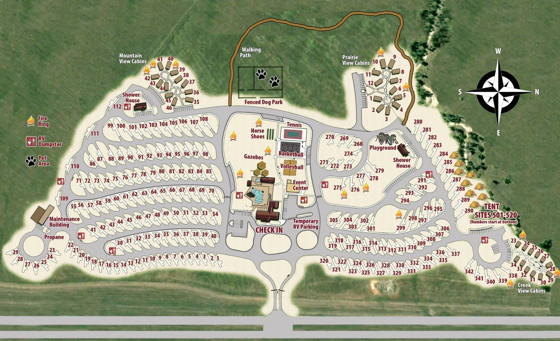 Elkhorn Ridge Resort RV Park Map